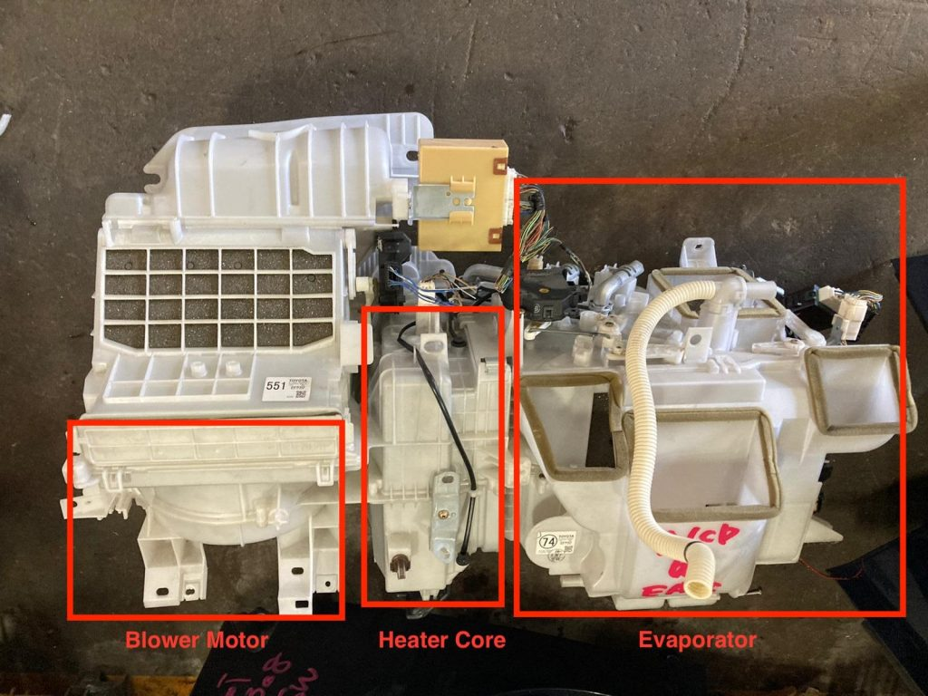 Blower motor and Heater Core and Evaporator
